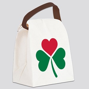 Shamrock red heart Canvas Lunch Bag