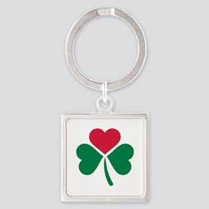 Shamrock red heart Square Keychain