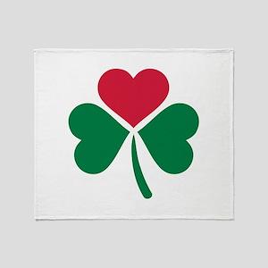 Shamrock red heart Throw Blanket