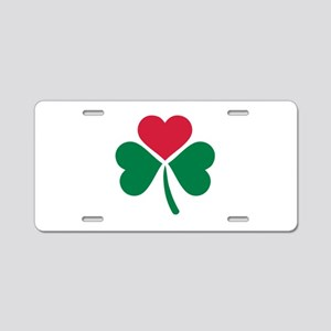 Shamrock red heart Aluminum License Plate