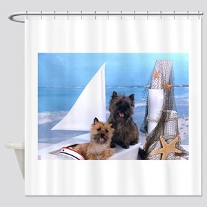 Cairn Terrier Boat Boys Shower Curtain