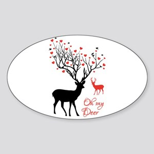 Oh my deer, stag and doe with red hearts Sticker