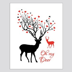Oh my deer, stag and doe with red hearts Posters