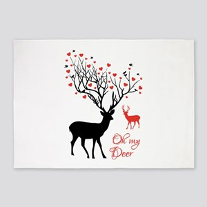 Oh my deer, stag and doe with red hearts 5'x7'Area