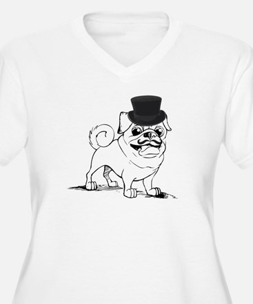 Pug with top hat Plus Size T-Shirt