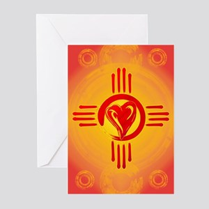 DESERT SUNSET ZIA LOVE Greeting Cards