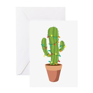 christmas lights cactus stationery cafepress