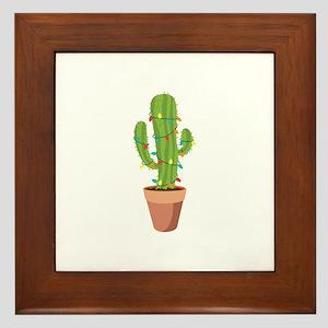 christmas lights cactus framed tile