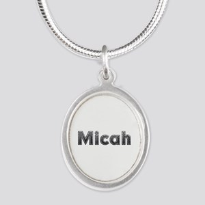 Micah Metal Silver Oval Necklace