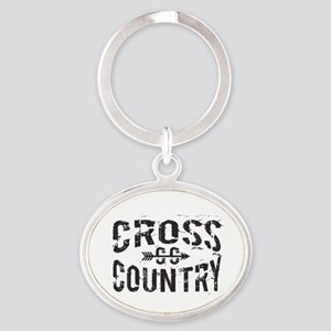 Cross Country Oval Keychain