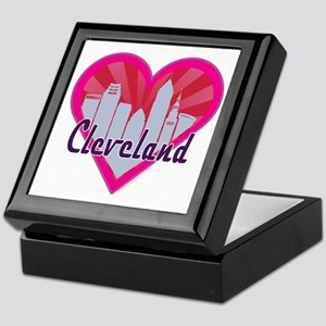 Cleveland Skyline Sunburst Heart Keepsake Box