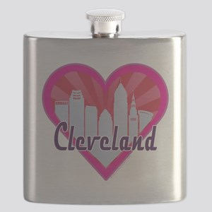 Cleveland Skyline Sunburst Heart Flask