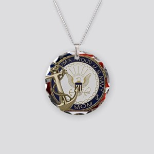 I'm A Proud Navy Mom Necklace Circle Charm