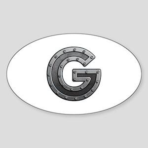 G Metal Oval Sticker