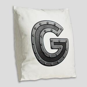 G Metal Burlap Throw Pillow
