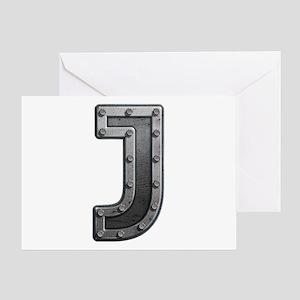 J Metal Greeting Card