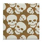 Skull Illustration Pattern Design Tile Coaster