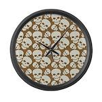 Skull Illustration Pattern Design Large Wall Clock