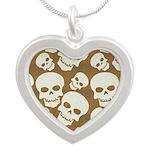 Skull Illustration Pattern D Silver Heart Necklace