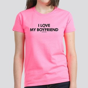Personalized LOVE MY BOYFRIEN Women's Dark T-Shirt