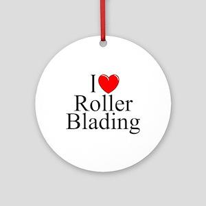 """I Love (Heart) Roller Blading"" Ornament (Round)"