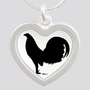 Gamecock Rooster Silhouette Silver Heart Necklace
