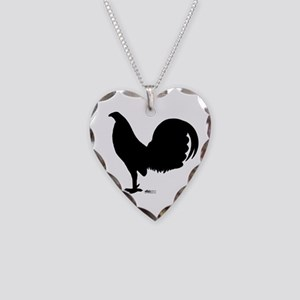Gamecock Rooster Silhouette Necklace Heart Charm