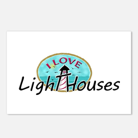 I Love Lighthouses Postcards (Package of 8)