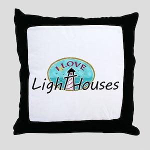 I Love Lighthouses Throw Pillow