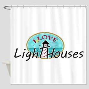 I Love Lighthouses Shower Curtain