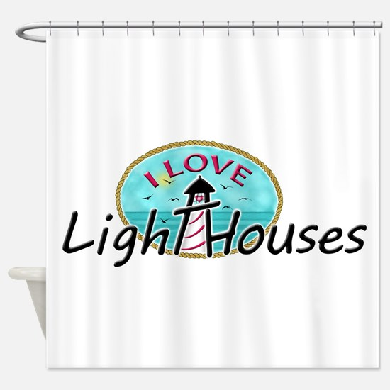 I Love Lighthouses Shower Curtain