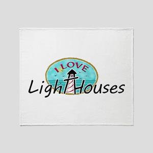 I Love Lighthouses Throw Blanket