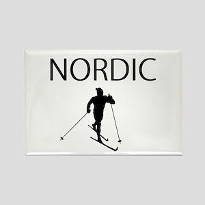 Nordic Ski Rectangle Magnet
