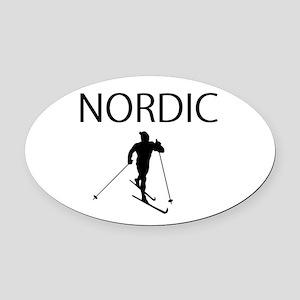 Nordic Ski Oval Oval Car Magnet