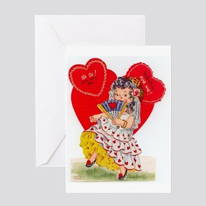 RetroValentine Senorita Greeting Card