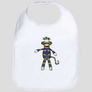 Mardi Gras Sock Monkey Bib