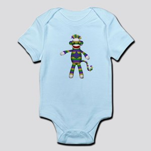 Mardi Gras Sock Monkey Body Suit
