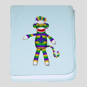 Mardi Gras Sock Monkey baby blanket