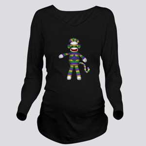 Mardi Gras Sock Monkey Long Sleeve Maternity T-Shi