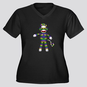 Mardi Gras Sock Monkey Plus Size T-Shirt