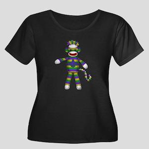 Mardi Gras Sock Monkey Plus Size T-Shirt