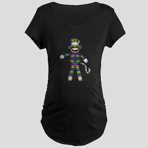 Mardi Gras Sock Monkey Maternity T-Shirt