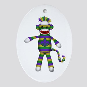 Mardi Gras Sock Monkey Ornament (Oval)
