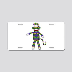 Mardi Gras Sock Monkey Aluminum License Plate