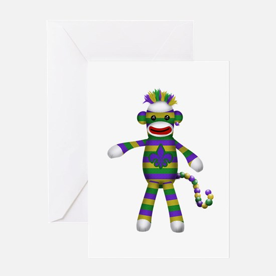 Mardi Gras Sock Monkey Greeting Cards