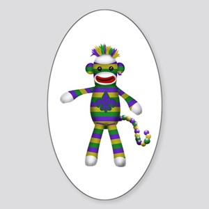 Mardi Gras Sock Monkey Sticker