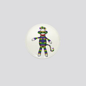 Mardi Gras Sock Monkey Mini Button