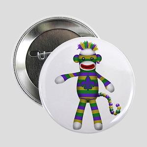 """Mardi Gras Sock Monkey 2.25"""" Button"""
