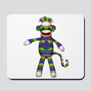 Mardi Gras Sock Monkey Mousepad