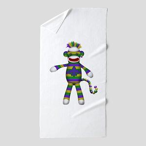 Mardi Gras Sock Monkey Beach Towel